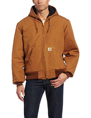 Carhartt Men's Quilted Flannel Lined Duck Active Jacket J140,Brown,Medium