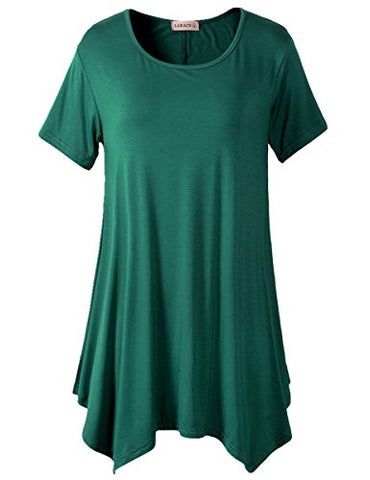 Lanmo Womens Swing Tunic Tops Loose Fit Comfy Flattering T Shirt (XL, Deep Green)