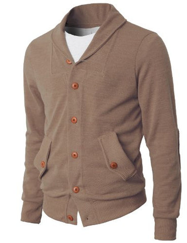 H2H Mens Shawl Collar Cardigan Sweater With Point Button BEIGE Asia XL (KMOCAL08)