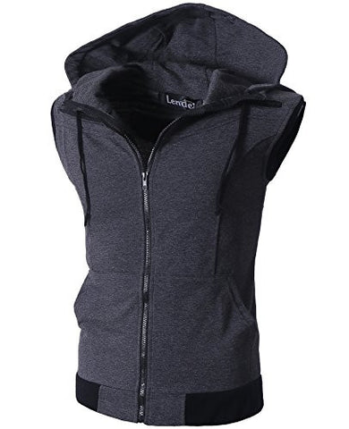 Zeger Men Zip Up Hoodies Kangaroo Pocket Hoodie Casual Hooded Vest,Dark Gray,XXL