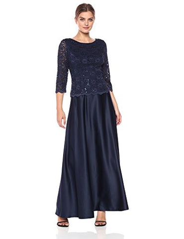 Alex Evenings Women's Long Mock Dress with Full Circle Satin Skirt, Midnight, 16