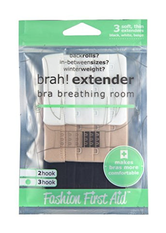 Fashion First Aid Brah! Extender Bra Band Extension VALUE PACK, 9 pieces, Multisize pack (2-hook, 3-hook, 2-hook narrow), Black, White, Beige