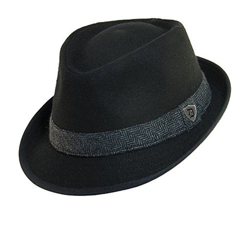 Dorfman Pacific Men's Wool Blend Fedora Hat with Herringbone Band, Small, Black