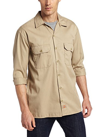 Dickies Men's Long Sleeve Work Shirt, Desert Sand, Small