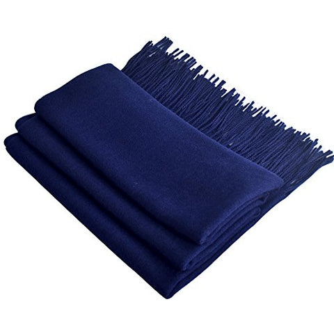 "Yazer Large 78.7""x 25.6"" Fashion Luxurious 100% Pure Cashmere Stole Scarf,Shawls for Women and Men (Navy Blue)"