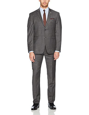 Original Penguin Men's Slim Fit Solid Suit, Grey, 38 Regular