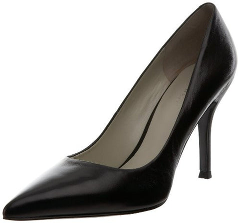Nine West Women's Flax Synthetic Dress Pump, Black Leather, 8 M US