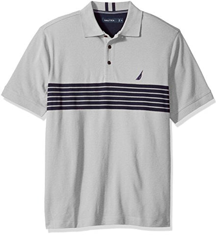 Nautica Men's Short Sleeve Striped Polo Shirt, Grey Heather, XX-Large