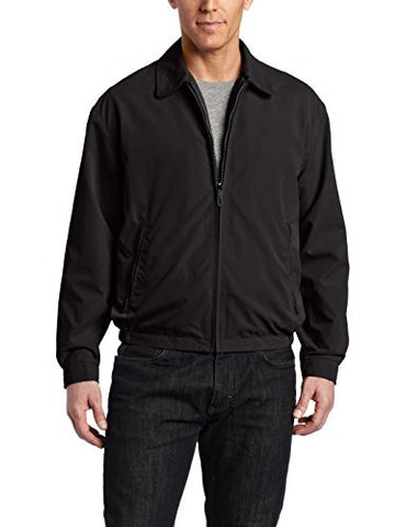 London Fog Men's Zip Front Light Mesh Lined Golf Jacket,  Black,  Large