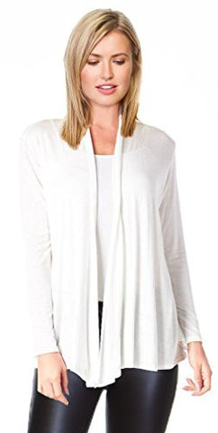 Womens Open Drape Cardigan Reg and Plus Size Cardigan Sweater Long Sleeves - USA White Small