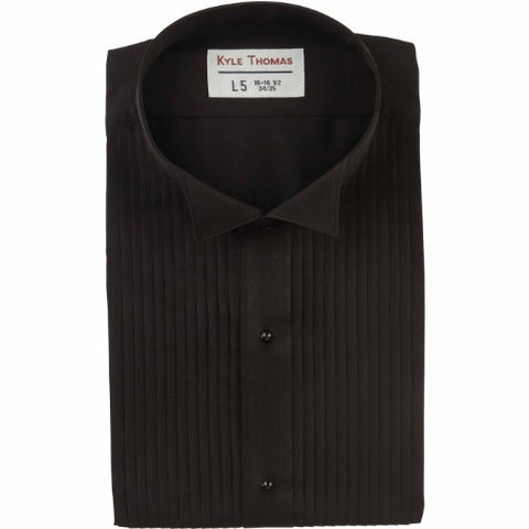 "Kyle Thomas Men's 1/4"" Pleat Wing Collar Tuxedo Shirt , Black, XL (17.5"" Neck)/ 35"" Sleeve"