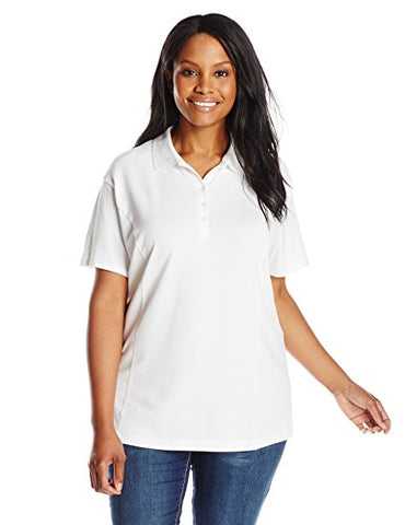 Riders by Lee Indigo Women's Plus-Size Morgan Short Sleeve Polo Shirt, Arctic White, 3X