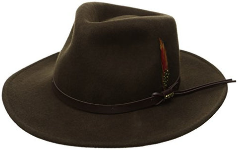 Scala Classico Men's Crushable Felt Outback Hat, Olive, X-Large