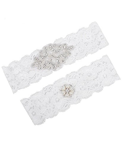 MerryJuly Bridal Garter set Lace with Rhinestones Wedding Garters for Bride Size M