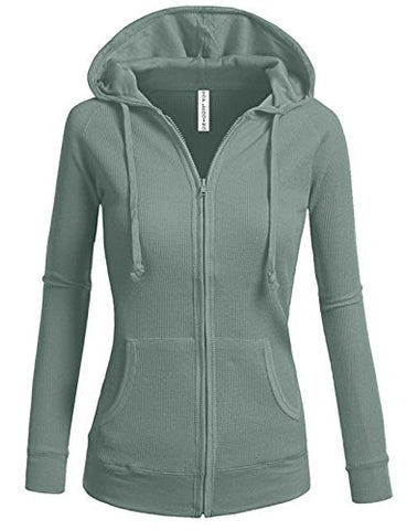 TL Women's Comfy Versatile Warm Knitted Casual Zip-Up Hoodie Jackets in Colors 02_DARK_SAGE L