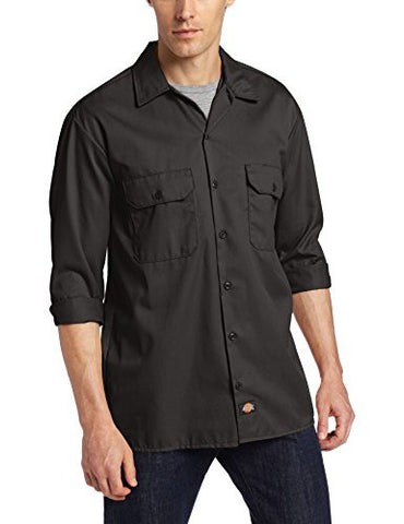 Dickies Men's Long Sleeve Work Shirt, Black, Extra Large