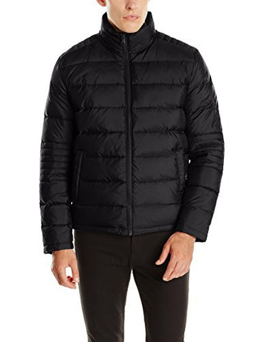 Kenneth Cole New York Men's Puffer Down Jacket with Elbow Stitch, Black, Large