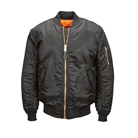 Alpha Industries Men's MA-1 Blood Chit Flight Bomber Jacket, Black, Large