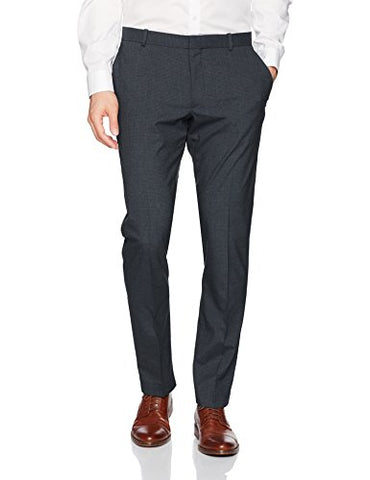 Perry Ellis Men's Slim Fit, Stretch Heather Check Pant, Blue Graphite, 32W X30L