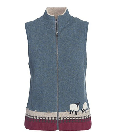 Woolrich Women's Grazing Sheep Sweater Vest, Ocean Blue, XL