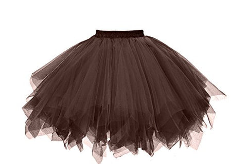 Musever 1950s Vintage Ballet Bubble Skirt Tulle Petticoat Puffy Tutu Chocolate Large/X-Large