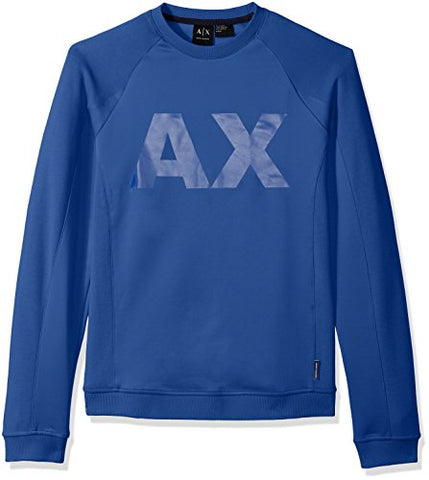 A|X Armani Exchange Men's Neoprene Sweatshirt with Ax Logo, Classic Blue, Small
