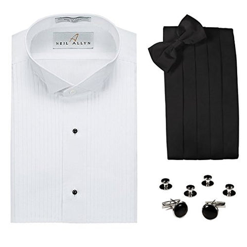 Tuxedo Shirt, Cummerbund, Bow Tie, Cufflink & Studs Set - Wing Collar, L(16-16.5 Neck, 32/33 Sleeve)