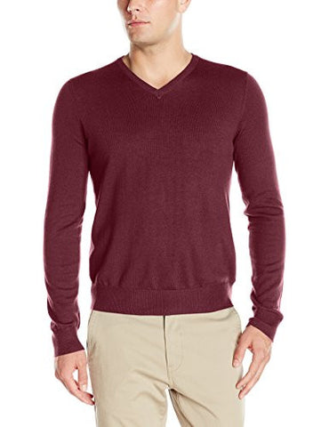IZOD Men's Fine Gauge Solid V-neck Sweater, Fig, X-Large