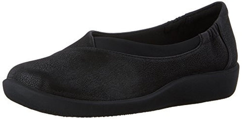 Clarks Women's CloudSteppers Sillian Jetay Flat, Black Synthetic Nubuck, 8 M US