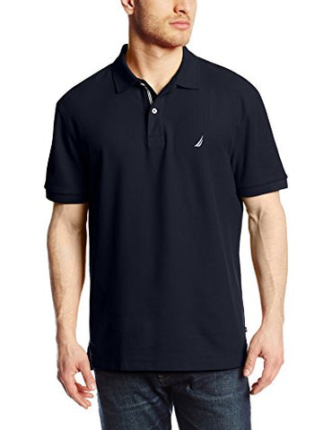 Nautica Men's Short Sleeve Solid Deck Polo Shirt, Navy, XX-Large