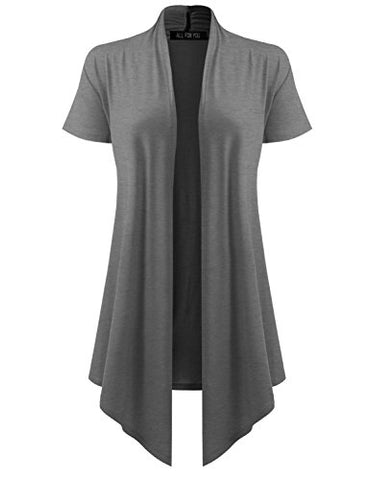 ALL FOR YOU Women's Soft Drape Cardigan Short Sleeve Charcoal XXX-Large