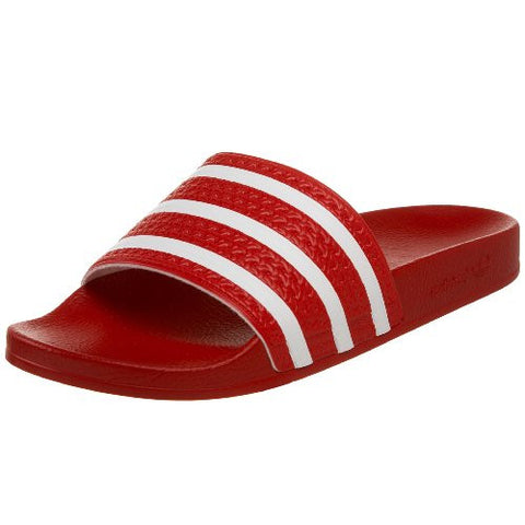 adidas Originals Men's Adilette Slide Sandal,Scarlet/White/Scarlet,10 M US