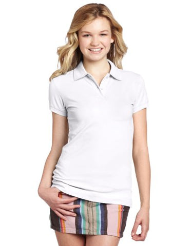 Dickies Girl Juniors Short Sleeve 2 Button Pique Polo,White,Small