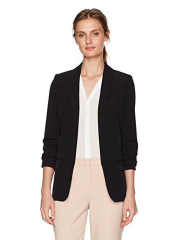 Calvin Klein Women's Petite Open Soft Suiting Jacket with Rouched Sleeves, Black, 14P