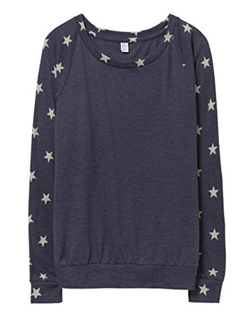Alternative Womens Slouchy Printed Eco-Jersey Pullover Large Eco True Navy Stars