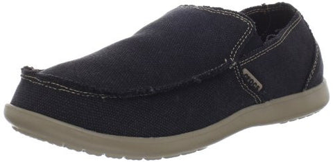 Crocs Men's Santa Cruz Clean Cut Slip-On Loafer,Black/Khaki,12 M US