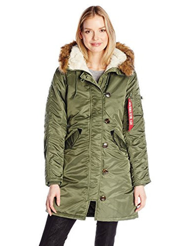 Alpha Industries Women's Elyse Parka, Sage Green, Large