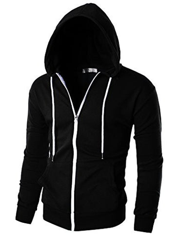Ohoo Mens Slim Fit Long Sleeve Lightweight Zip-up Hoodie With Kanga Pocket/DCF002-BLACK-L