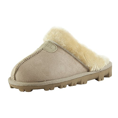 Clpp'li Womens Slip On Faux Fur Warm Winter Mules Fluffy Suede Comfy Slippers-Sand-7