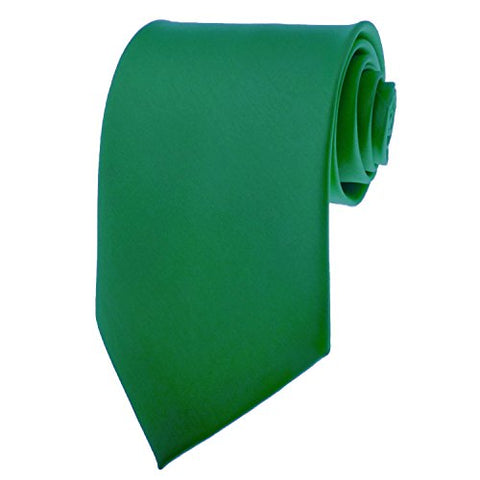 Mens Solid Kelly Green Satin Necktie Neck Tie