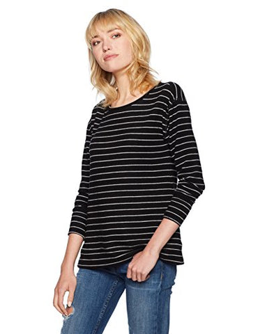 BB Dakota Women's Hillman Long Sleeve Striped Brushed Knit Top, Black, Medium