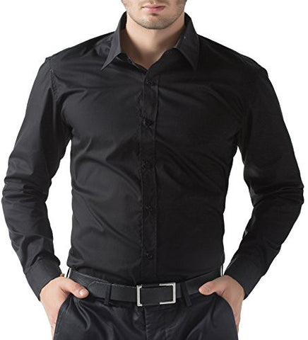 Mens Black Business Casual Dress Shirts Long Sleeve(L)