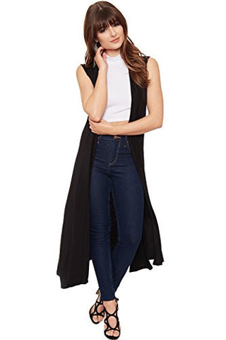WearAll Women's Long Maxi Open Sleeveless Cardigan - Black - US 8-10 (UK 12-14)