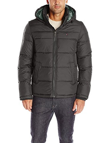 Tommy Hilfiger Men's Ultra Loft Insulated Midlength Quilted Puffer Jacket with Fixed Hood, Black, S