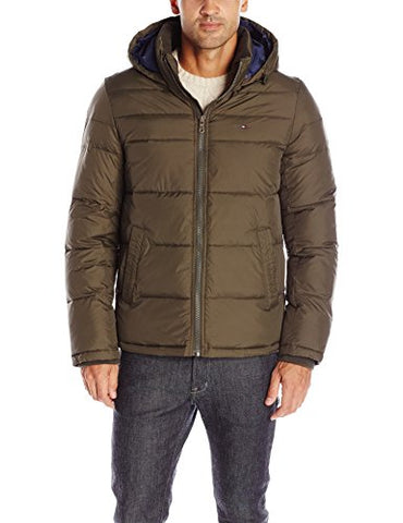 Tommy Hilfiger Men's Ultra Loft Insulated Midlength Quilted Puffer Jacket with Fixed Hood, Olive, M