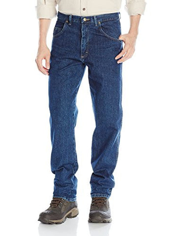 Wrangler Men's Rugged Wear Relaxed Fit Jean, Dark Stonewash, 40x32