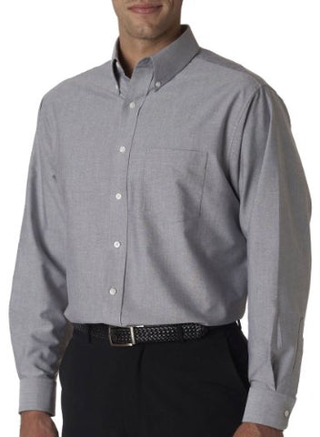 UltraClub� Men's Classic Wrinkle-Free Long-Sleeve Oxford (Charcoal) (X-Large)