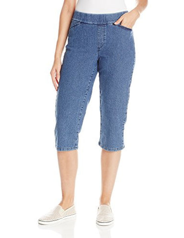 Chic Classic Collection Women's Easy Fit Elastic Waist Pull-On Capri, Mid Shade, 18