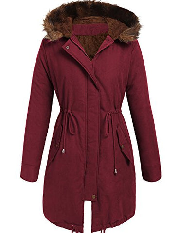 Beyove Women Winter Warm Hoodie Faux Fur Lined Down Parka Outdoor Long Jacket Coats