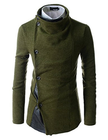 (GD93) Slim Stylish Unbalanced Metallic Leather Point Knitted Cardigan Sweaters KHAKI US 2XL(Tag size 3XL)